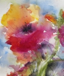 Gold Painting Posters - Iceland Poppy Poster by Anne Duke