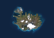 Cartography Photos - Iceland, Satellite Image by Planetobserver