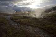 Geysers Photos - Icelandic hot springs near sun down by Sven Brogren