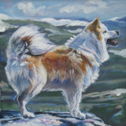 Sheepdog Posters - Icelandic sheepdog Poster by Lee Ann Shepard