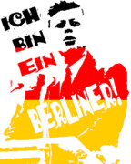 Politics Digital Art Framed Prints - Ich Bin Ein Berliner Framed Print by Jera Sky