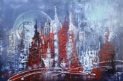 Abstract Paintings - Icicle City by Laura Sherrill