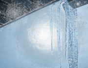 Wintry Digital Art Prints - Icicles 1 - Hanging From the Eaves Print by Steve Ohlsen