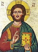 Byzantine Icon Paintings - Icon of Jesus As Christ Pantocrator by Ion vincent DAnu