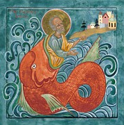 Prophet Posters - Icon of Jonah and the Whale Poster by Juliet Venter