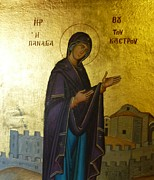 Greek Icon Posters - Icon of Our Lady  Poster by Therese Alcorn