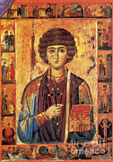 Saint Catherine Photo Posters - Icon Of Saint Pantaleon Poster by Science Source