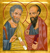 Byzantine Paintings - Icon of Sts Peter and Paul by Juliet Venter