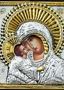 Virgin Mary Metal Prints - Icon of the Bl Virgin Mary w Christ Child Metal Print by Jake Hartz