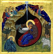 Virgin Mary Paintings - Icon of the Nativity by Juliet Venter