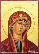 Icon  Mixed Media Prints - Icon of the virgin Mary. Print by Anastasis  Anastasi