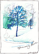 Christmas Notecard Originals - Icy Blue Christmas by Michele Hollister - for Nancy Asbell