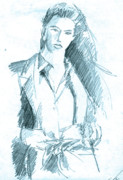 John Keaton Drawings - Icy Blue Woman by John Keaton