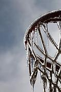 Basketball Sports Framed Prints - Icy Hoops Framed Print by Nadine Rippelmeyer
