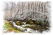 Snowy Stream Prints - Icy Landscape Print by Debra and Dave Vanderlaan
