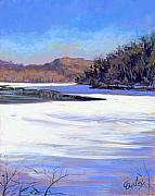 Nashville Tennessee Paintings - Icy Radnor Lake by Chris Ousley