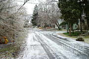 Ice Storm Photos - Icy Road by Ted Kinsman