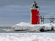 South Haven Framed Prints - Icy South Haven MI Lighthouse Framed Print by Jack Schultz
