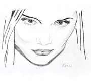 Katie Holmes Framed Prints - Icy stare Framed Print by Rebecca Wood