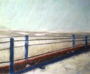 Chicago Pastels Prints - Icy Walkway Print by Terry Jenkins