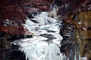 White River Scene Prints - Icy waterfalls Print by Mingqi Ge