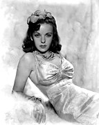 Satin Dress Photo Framed Prints - Ida Lupino Framed Print by Everett
