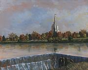 Tree Painting Originals - Idaho Falls Temple by Jeff Brimley