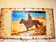 Idaho Pyrography Posters - Idaho sunset-Horse and horseman wood pyrography Poster by Egri George-Christian