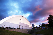 Football Photos - Idaho Sunset Over the Kibbie Dome by University of Idaho Photographic Services