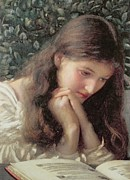 Young Girl Reading Paintings - Idle Tears by Edward Robert Hughes