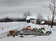 Family Farm Painting Prints - Idle Work Horses Print by Jack  Brauer