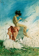 Nudes Paintings - Idyll by Mariano Fortuny y Marsal