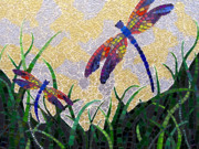 Dragonflies Mixed Media - If There Were a Garden by Lee Ann Petropoulos