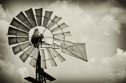 Dark Sepia Prints - If Windmills Could Talk Print by Tony Grider