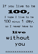 Encouragement Posters - If You Live To Be 100 - Blue Poster by Nomad Art And  Design