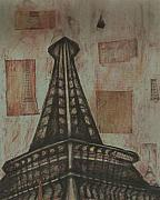 Paris Drawings Posters - Iffel Tower Poster by Sidra Myers