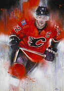 Calgary Flames Painting Prints - Iginla Print by Gary McLaughlin
