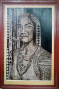 Woman Pyrography Originals - Igorot Woman by Jordan Mang-osan