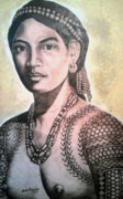 Woman Pyrography Originals - Igorota by Jordan Mang-osan