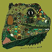 Color Green Drawings Posters - Iguana - Color Poster by Karl Addison