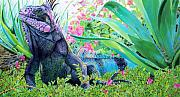 Tropical Wildlife Paintings - Iguana by Denny Bond