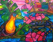 Toucan Paintings - Iguana Eco Tour by Patti Schermerhorn