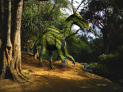 Dinosaur Art - Iguanodon In The Jungle by Frank Wilson