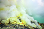 Fumarole Framed Prints - Ijen crater Framed Print by MotHaiBaPhoto Prints
