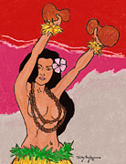 Hawaiian Art Pastels Prints - Ikaika Hula Girl Print by William Depaula