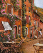 Italy Village Framed Prints - Il Bar Sulla Discesa Framed Print by Guido Borelli