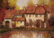 Lake Paintings - Il Borgo Rosso by Guido Borelli