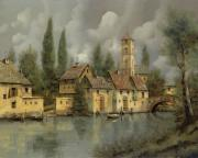 Bell Tower Paintings - Il Borgo Sul Fiume by Guido Borelli
