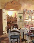 Red Wine Painting Originals - Il Caffe Dellarmadio by Guido Borelli