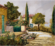 Courtyard Art - Il Cipresso by Guido Borelli
